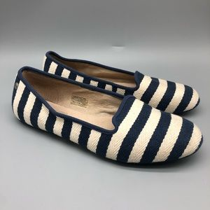 Ugg navy and white striped slide loafers
